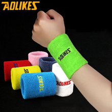 AOLIKES Unisex Cotton Wristband Sport Sweatband Arm Band Basketball Tennis Gym Wrist Support Yoga Guard Protector 8x8cm/11x8cm(China)