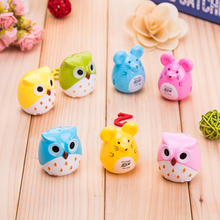 2Pcs Random Color Mini Kawaii Funny Owl Pencil Sharpener Cutter Knife School Student Stationery Supplies