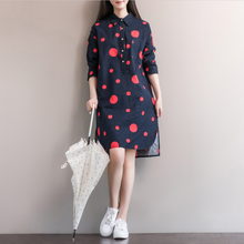 2017 new spring Cotton Elegant Casual shirt dress long sleeve polka dot dress designer casual dress plus size womens dresses