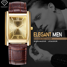 FTV Gold Watch Men 2017 Leather Belt Mens Rectangle Wristwatches 30 Meters Waterproof Male Watches Casual Relogio Masculino