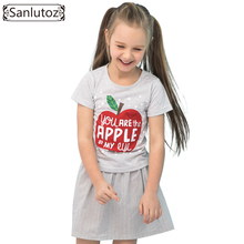Sanlutoz Summer Cotton Kids Clothes Apple Pattern Girl Clothing Sets Brand Children Clothes Fashion Toddler ( T-Shirt + Skirt )(China)