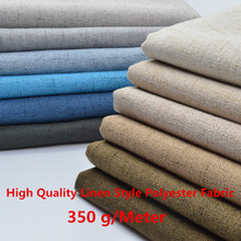 High Quality Linen Style Polyester Fabric Craft Cushion Table Sofa Curtain Upholstery Fabric Composite Flannelette Back 350g /M