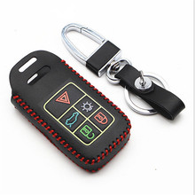 Red Color Car Genuine Leather Bag Remote Control Car Keychain Key Cover Case For Volvo V60l S80L XC70 5Buttons Smart Key(China)