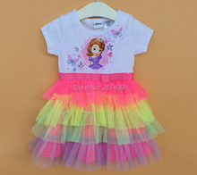 Sofia the first kid childrens dress babies baby Girl girls kids short sleeve summer rainbow tutu dress dresses 8 pcs/lot
