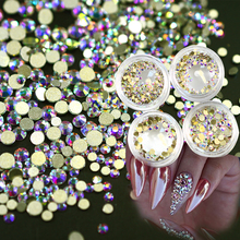 120pcs 1box New 2017 Gold AB Glitter Shinning Crystal Nail Rhinestones 3d Beauty Shinning DIY Nails Decor Accessory NJ245