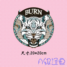 The animal BURN the letter tiger round mark Pattern Heat Transfer Printing Iron On Patches Applique for Clothes T-shirt Decorati(China)
