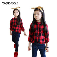 New 2017 Spring Children Red Black Plaid Long Sleeve Casual Shirts 2-11 Years Kids Tops Unisex Boys Girls Cotton Blouses(China)