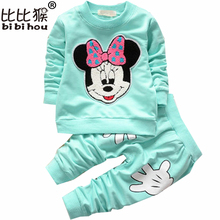 Baby Clothing suit Cartoon Children's Sports Suit long sleeve Cotton Casual Track suits Kids Clothes girls winter clothes(China)