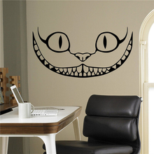 Smiling Cheshire Cat Vinyl Decal Alice in Wonderland Wall Sticker Cartoons Home Interior Children Kids Room Decor(China)