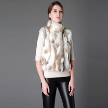 Fur Story 16297 Natural Fur Vest for Women Real Rabbit Fur Waistcoat Natural Color Stand up Collar(China)