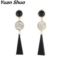 Yuan Shuo Original design Europe and the United States fashion flow jewelry geometric modeling pine stone combination earrings(China)