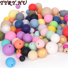 TYRY.HU Silicone Bead Teether Round Mix Colors 200PC 9-12-15-19mm Food Grade Materials DIY Crafts Baby Teether Safe Rattle Beads(China)