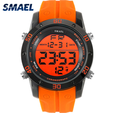 Fashion Watches Men Orange Casual Digital Watches Sports LED Clock Male Automatic Date Watch 1145 Men's Wristwatch Waterproof(China)