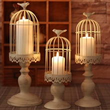Hand-made white moroccan decor vintage metal candle lanterns,candelabra, bird cage decoration for wedding(China)
