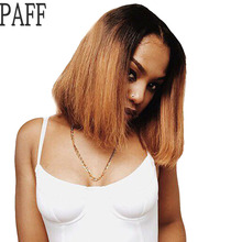 36C Bob Human Hair Lace Front Wigs 150 Density Short Ombre Color T1B/27 Straight Peruvian Remy Hair Wig Bleached Baby Hair(China)