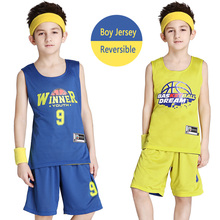 Reversible Kids Basketball Jerseys Uniforms Children Team Sport Tracksuits Boy Trainning Shirt & Shorts Sets Custom (10 Colors)(China)