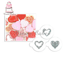 Swirl Valentine Heart Shape Stencil for Cupcake and Cookies Decoration Fondant Decorating Stencil Cake Tools Bakeware ST-685(China)