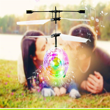 RC Flying Ball Helicopter Ball Built-in Disco Music With Shinning LED Lighting for Kids Teenagers Colorful Flyings Toys Krystal