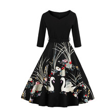 2017 Elegant Black Swan Print 50s Vintage Dress V Neck 3/4 Sleeved High Waist Belts Zipper Swing Party Retro Feminino Vestidos