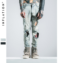 INFLATION | Hi-Street Mens Ripped Rider Biker Jeans Motorcycle Slim Fit Washed Black Light-Blue Moto Jeans(China)