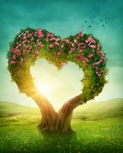 10x10FT Pink Flowers Branch Love Heart Tree Trunk Green Grass Valentine Custom Photo Studio Backdrops Background Vinyl 8x8 8x10