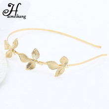 haimeikang Fashion Three Golden Leaves Hair Hoop Alloy Olive Branch Leaf Small Hair Bands Hair Accessories for Girls Women