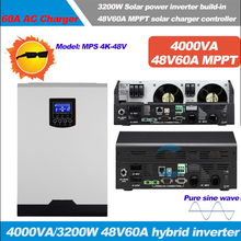 4KVA Solar Hybrid inverter 3200W 48Vdc to 230Vac,50/60HZ with 48V60A MPPT Solar Charger and 60A AC charger with pure sine wave