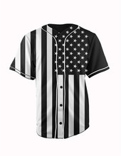 Real American Size black flag 3D Sublimation Print Custom made Button up baseball jersey plus size