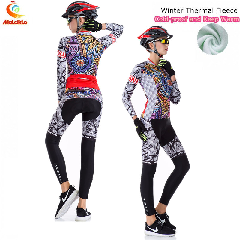 Pro Team Long Cycling Jersey Woman 2017/Ropa Ciclismo Mujer/Winter Fleece Mountan Bike Wear Clothing Maillot Cycling Sets<br>