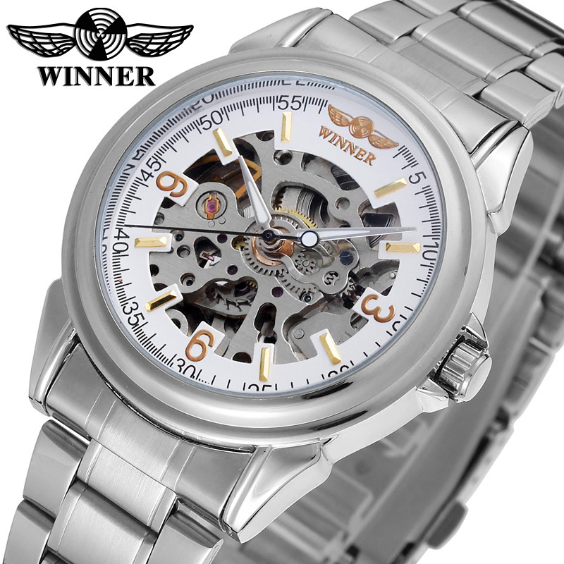 WINNER Brand Men Luxury See Through Skeleton Stainless Steel Watch Mechanical Hand Wind Wristwatches Gift Box Relogio Releges<br>