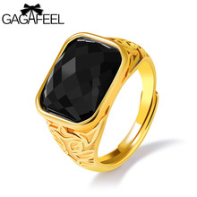 GAGAFEEL Men's Changeable Ring With Large Red Black Store Rings Domineer Jewelry Copper Gold Color Finger Accessories For Party