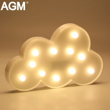 AGM Cloud Flamingo Cactus LED Night Light Sign 3D Star Marquee Figure Battery Operated Luminaria Desk Lamp For Kids Gift Decor