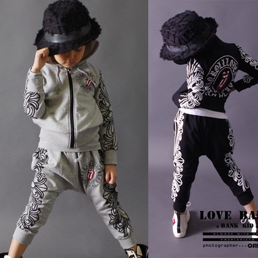 2014 New fashion spring Autumn childrens clothing set Costumes sweatshirt Hip Hop harem pants kids  suits Wholesale<br>