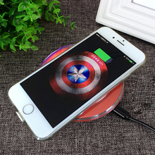 High quality Captain America Shield Qi Wireless Charging Pad with Receiver Pad coil For iPhone 5 5S SE 6 6S 7 plus Free shipping