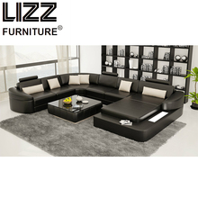 Lizz Furniture Promotion Products Modern Miami Cow Leather U Shape Couch Sofa With LED Light(China)