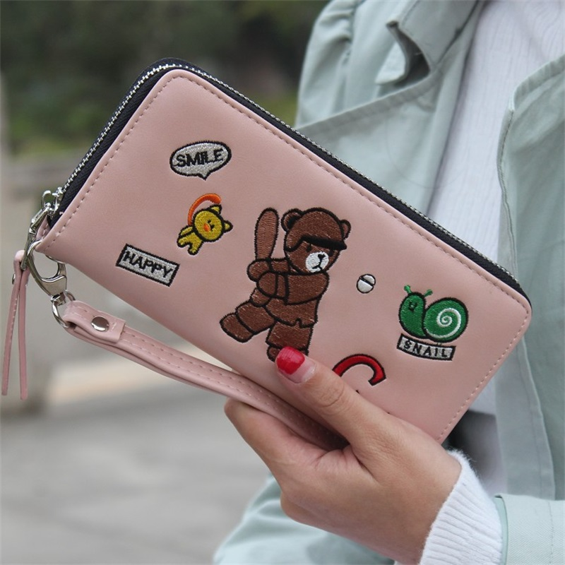 Hot Sale Women Wallet Fashion Animal Women Purse Embroidered Cute Little Bear Smiling Face Zipper Holds  Cion Purse Card Holder<br><br>Aliexpress