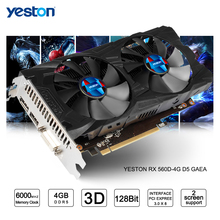 Yeston Radeon RX 560D GPU 4GB GDDR5 128 bit Gaming Desktop computer PC Video Graphics Cards support DVI/HDMI(China)