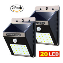 2 Pcs Led Solar Light Garden 20 LED Motion Sensor Wall Lights Yard Outdoor Waterproof PIR Home Street Solar Powered Lamp 2 PACK