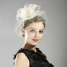 New 3 Colors Tulle Cap Wedding Hair Accessories Feather Birdcage Net Fascinator Veil Hairpin And Cilp Bridal Hair Jewelry(China)