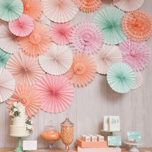 AJP 5PCS/Lot Snowflake Tissue Hollow Paper Fans For Kids Birthday Hanging Decoration Wedding supplies Shower Crafts(China)