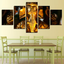 Canvas HD Printed Wall Art Poster Framework Home Decor 5 Panel Golden Ganesha Pictures Living Room Elephant Head God Painting(China)