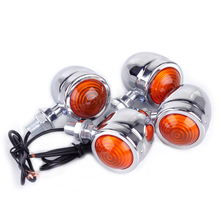 beler 4Pcs Motorcycle Chrome Plate Bullet Turn Signal Lights Indicator Lamp Fit for Harley Dirt Bike Honda Guzzi Yamaha Suzuki