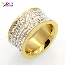 Luxury Design Nail Ring Unisex Party Trendy Vintage Jewelry Stainless Steel 5 Row Rhinestones Wide Finger Ring Jewelry(China)