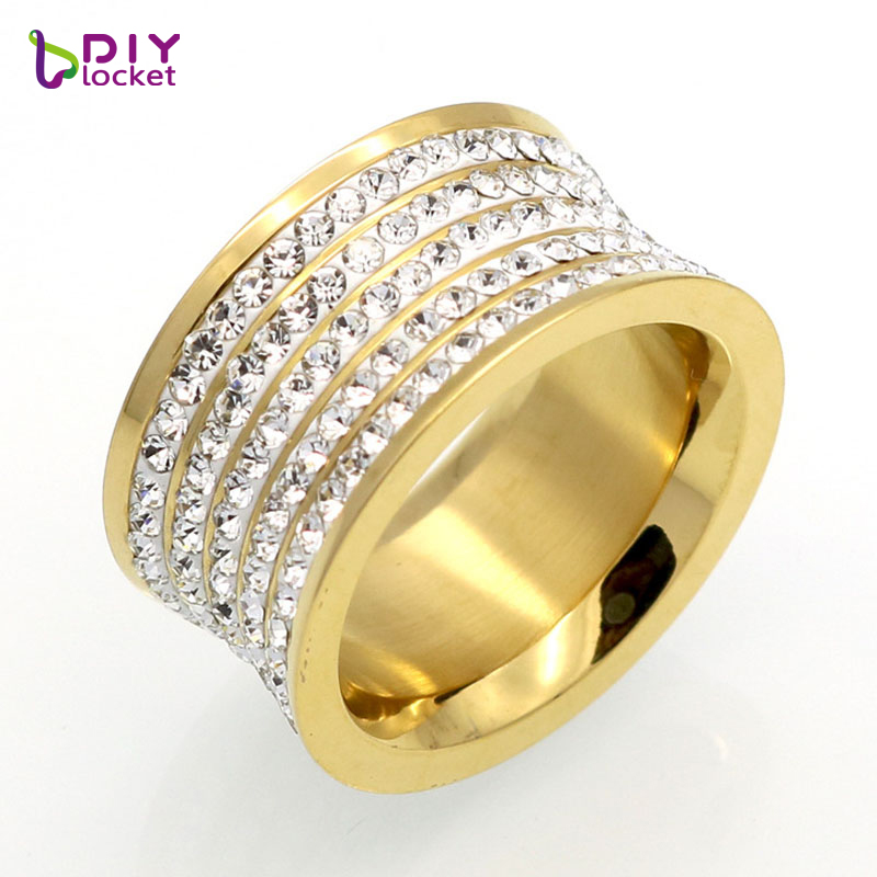 Luxury Design Nail Ring Unisex Party Trendy Vintage Jewelry Stainless Steel 5 Row Rhinestones Wide Finger Ring Jewelry(China (Mainland))
