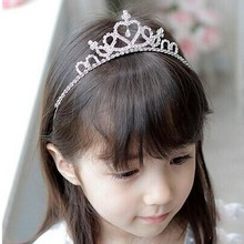 2017 New Cute Heart Princess Crown Tiara Rhinestone Corona Diadem Hairwear Hair Jewelry Lovely Wedding Girls Bridesmaid Headband