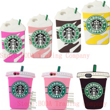 Hot 3D Cartoon Silicon Milk tea Ice Cream Starbuck Coffee Cup Phone Cases For iPhone 4 4S 5 5S SE 6 6S Plus For iPhone 7 7 Plus