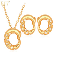 U7 Unique Jewelry Set Gold Color Rhinestone Round Trendy Party Earrings Necklace Set For Women S528
