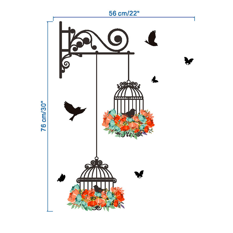 HTB1A5zPRFXXXXboXpXXq6xXFXXXa - New Birdcage Flower Flying for Living room Nursery Room Wall Stickers Vinyl Wall Decals Wall Sticker for Kids Room Home Decor