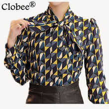 New Work Wear Office 2017 Shirt Women Tops Yellow Floral Bow Tie Pattern Geometric Print Blouse Women Clothing Autumn T65628R