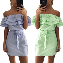 2017 New Summer Fashion Women Stripe Dress Cute Casual Sexy Slash Neck Off Shoulder Elegant Ruffles Tunic belt mini dresses